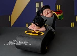 Newborn Twins in BatMobile